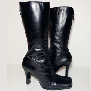 Aldo Black Leather High Heel Boots Square Toe